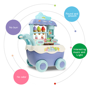 Image 3 - Funny Supermarket Shopping Pretend Play Kitchen Toy for Girls Children Educational Toys Ice Cream Cart with Light and Music