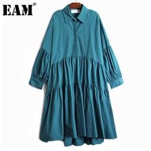 [EAM] Women Vintage Pleated Big Size Blue Black Dress New Lapel Long Sleeve Loose Fit Fashion Tide Spring Autumn 2021 1DD4780