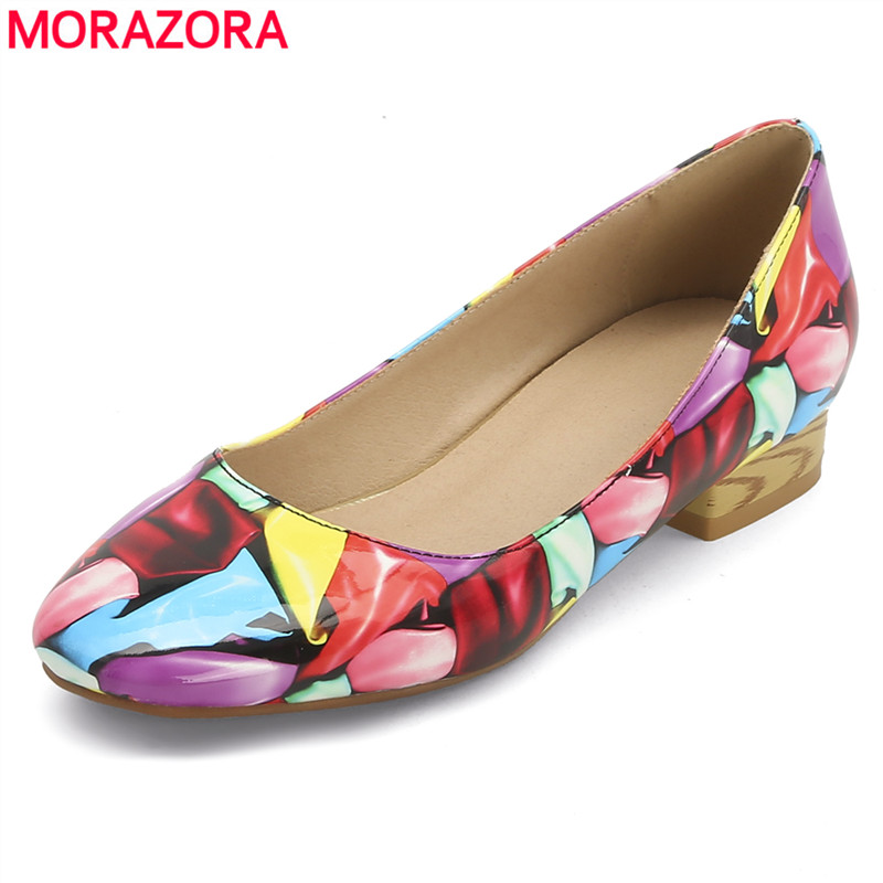 MORAZORA Size 34-45 New low heels women pumps round toe mixed colors printed spring summer ladies shoes party dress shoes