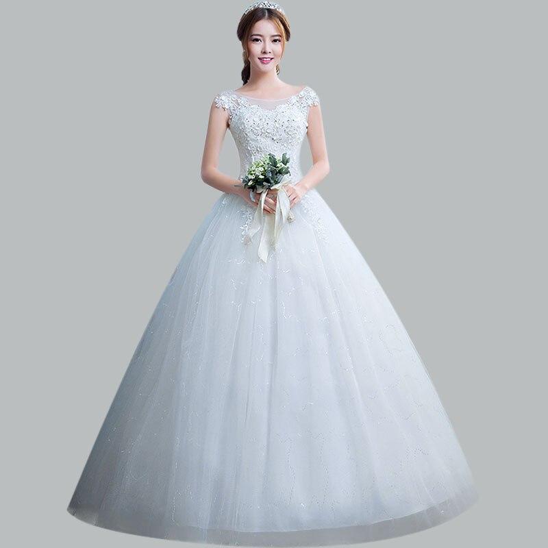 Elegant Wedding Dress CR682 Appliques Long Vestidos De Novia Lace Up Formal Bridal Dresses O-neck Sleeveless Wedding Gowns 2020