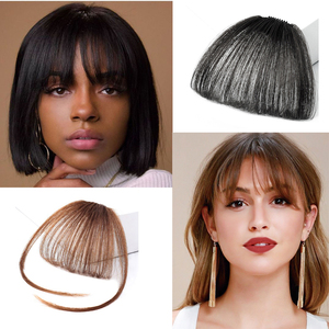 Clip In Air Bangs Thin Fake Fringes Natural Straigth Synthetic Neat Hair Bang Accessories For Girls Invisible Natural 4 Colors