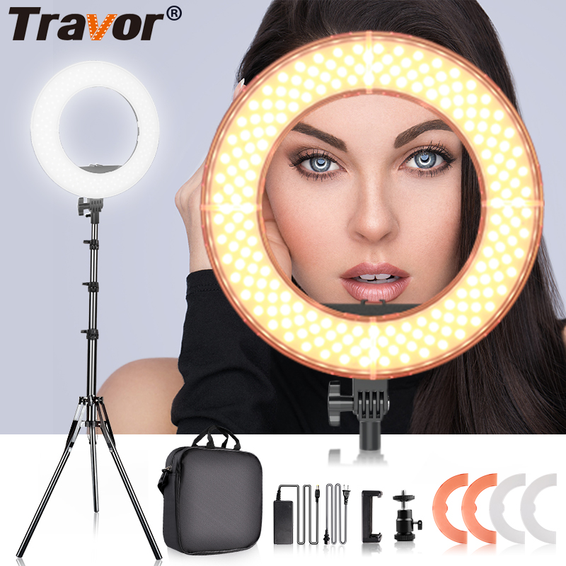 TRAVOR photo studio lighting 14 polegada 196 PCS CONDUZIU a lâmpada anel anel de luz regulável ringlight com grampo de telefone tripé para youTube