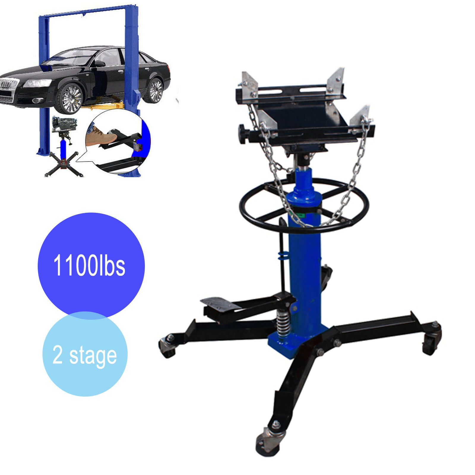 1100 Lbs Adjustable Height Hydraulic Telescopic Transmission Jack 2 Stage Auto Shop Car Lift