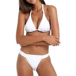 Unikalne stroje kąpielowe damskie dekolt bez pleców Halter stroje kąpielowe damskie Bikini dwuczęściowy strój kąpielowy Tankini plaża strój kąpielowy strąckąpielowy 2