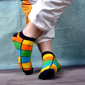 Image 4 - SANZETTI 12 זוגות\חבילה גברים מקרית קיץ קרסול גרבי צבעוני שמח מצחיק מסורק כותנה פסים חידוש היפ הופ Tendy קצר גרביים