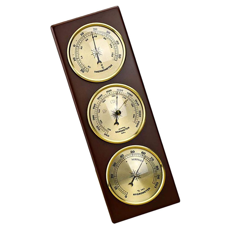 Image 3 - Wall Barometer Thermometer Hygrometer Weather Station Hanging 