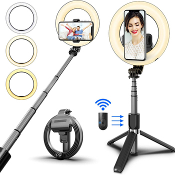Wireless Bluetooth Selfie Stick Foldable Handheld Remote Shutter Tripod With 5inch LED Ring Photography Light For Android IOS 1