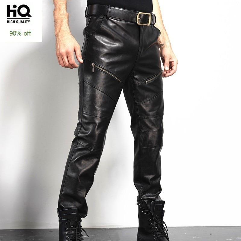 Winter Mens Real Sheepskin Genuine Leather Pants Zip Moto Biker Slim Fit Long Trousers Man Straight Warm Fleece Lining Pants 36