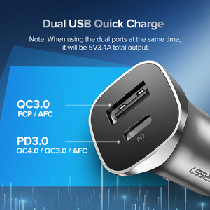 Image 4 - Ugreen Quick Charge 4.0 3.0 QC USB Car Charger for Xiaomi QC4.0 QC3.0 18W Type C PD Car Charging for iPhone 12 X Xs 8 PD Charger