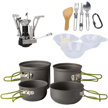 Aluminum Alloy Camping Pot Hiking Picnic Tourist Tableware Set with Folding Spoon Mini Gas Stove Outdoor Camping Trip Cookware