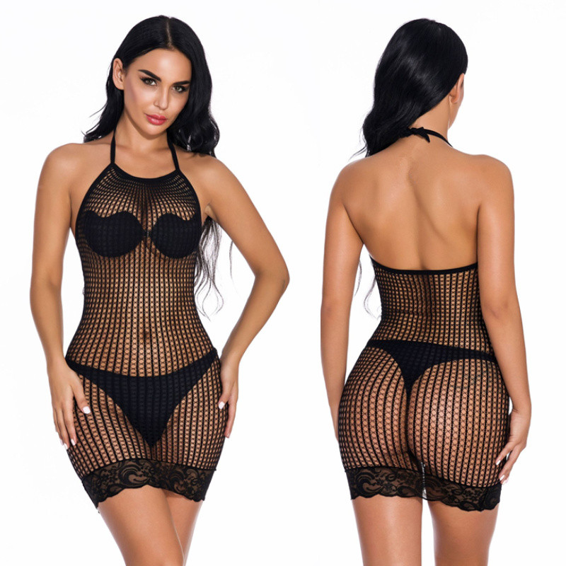 Fishnet Erotic Dress Plus Size Women Perspective <font><b>Lingerie</b></font> <font><b>Sexy</b></font> Hot Erotic Underwear Female <font><b>Sexy</b></font> <font><b>Lingerie</b></font> Babydoll Costumes image