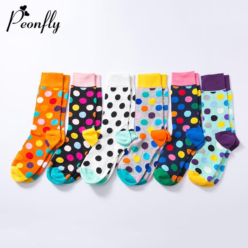 PEONFLY Harajuku Colorful Dot Printed Socks Men Women Casual Geometry Short Socks Funny Socks Female Combed Cotton Calcetines