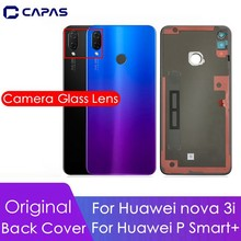 Original For Huawei Nova 3i Back Cover + Camera Glass Lens For Huawei P Smart+ Rear Battery Back Cover Replacement Spare Parts
