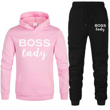 Nieuwe Trainingspak Mannen Set Boss Lady Print Hoody Set Fleece Hoodies Sportkleding Set Joggingbroek Hoodies Mannen 2 Stuk set(China)