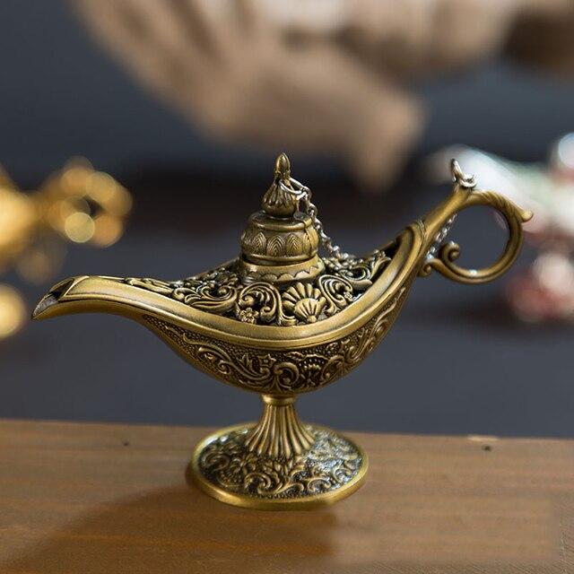 Vintage Aladdin Lampe Tee Topf Zink-legierung Office Home Desktop Decor Sammlung Herd Hause Dekoration Artikel Kreative Aromatherapie