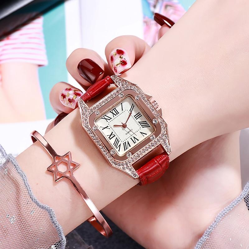 Fashion Ladies Quartz Watch Rhinestone Crystal Tonneau Women Watch Dress Luxury Roman Numerals Leather Watch for women