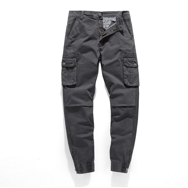 HIEXHSE Spliced Pants Men Multi-pocket Washed Overalls Men Loose Cotton Pants Male Cargo Pants For Men Trousers,size 29-38