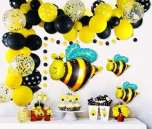 METABLE Bumblebee Balloons Garland Kit,100 Pcs Yellow Black Polka Dot Bee Confetti Foil Golden Ribbon