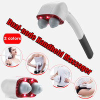 Electric Handheld Massager Two Head Machine Full Body Neck Vertebra Back Muscle Relax Vibrating Deep Tissue Massage Health Care