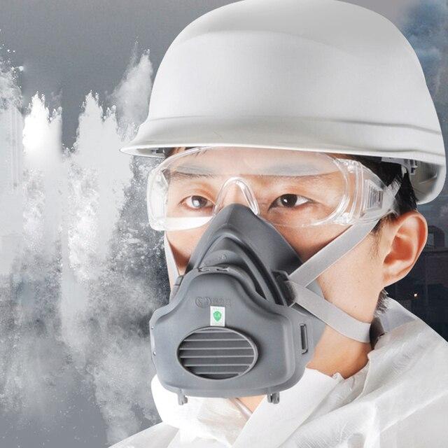 Пылезащитная маска POWECOM 3700, респиратор для частиц, полумаска с фильтром, хлопковая защитная маска для лица, против пыли и смога