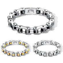 лучшая цена Cool Heavy Men Biker Bicycle Motorcycle Link Chain Men's Bracelet & Bangle Fashion Punk Stainless Steel Jewelry 12mm 20.5cm