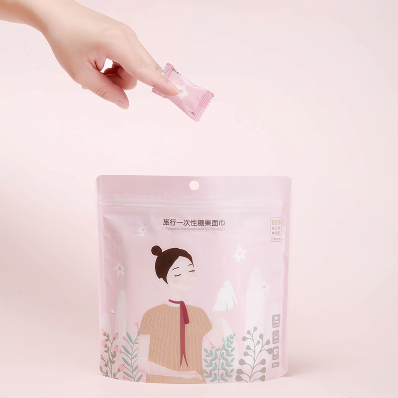 50pcs / Set Of Portable Travel Disposable Cotton Towel Mini Cleaning  Tissue Storage Bag Essential Business Accessories Supplies