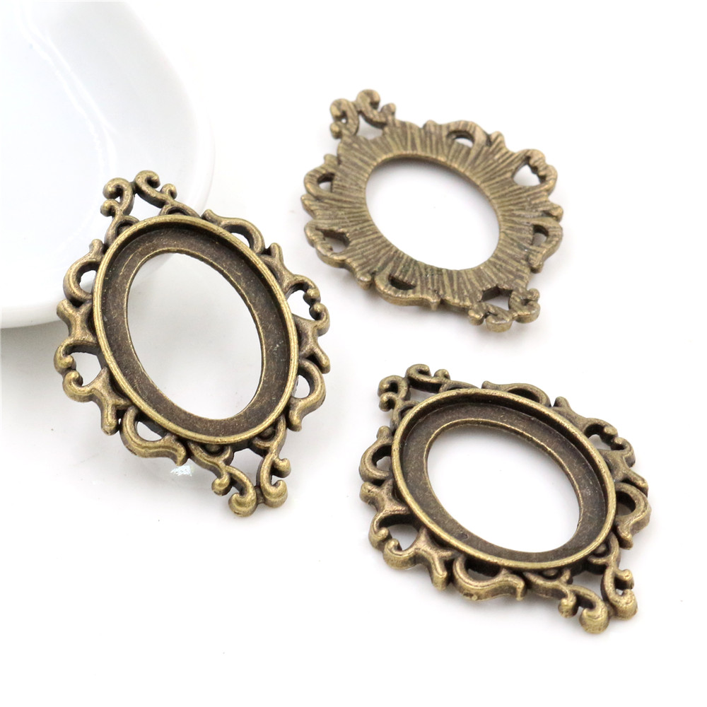 10pcs 18x25mm Inner Size Antique Bronze Flowers Style Cameo Cabochon Base Setting Charms Pendant Necklace Findings  (C3-24)