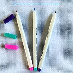 Image 5 - Marcadores de tecido ponto cruz solúvel ar água apagável canetas grommet tinta marcação canetas caneta solúvel diy needlework casa ferramentas