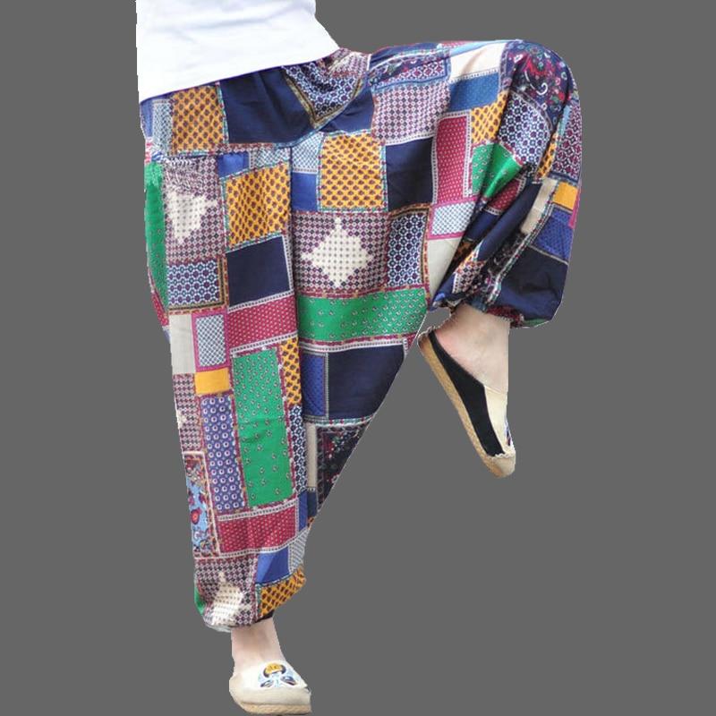 2020 Dance Thai Harem Pants Women Men Hippy Print Plus Size Baggy Loose Casual Cotton Linen Pants Trousers Pantalon Femme