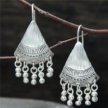 2019 New Women's Earrings 925 Sterling Silver Tassels Drop Hook Carved Linear Earrings Cocktail Party Fine Jewelry недорого