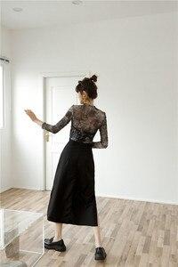 CHEERART Tüll Transparent Top Langarm T Shirt Frauen Abstraktion Drucken Sehen Durch Damen Top Frauen 2020 Kleidung