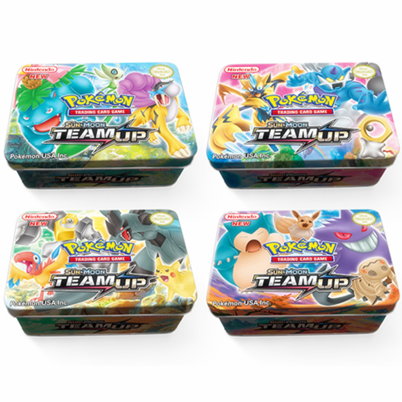 42 Pcs Pokemon Cards Cartoon Iron Metal Box TAKARA TOMY Toys 20 60 Mega GX Pokemons Shining Battle Game Trading Carte Figuren