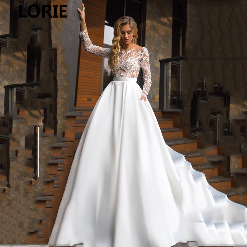 LORIE A Line Princess Wedding Dresses Satin Boho Lace Bride Gows Appliqued 3/4 Sleeve Floor Length  Vestido De Voiva