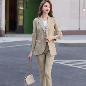Image 4 - New Women Double Breasted Pant Suit S 5XL Casual Green Khaki Pink Stripe Jacket Blazer And Pant 2 Piece Suit Set