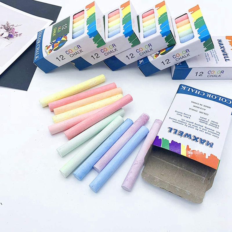 12 x COLOURED CHALK STICKS Blackboard Pavement Kids Childrens Art Craft Colour