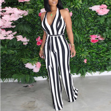 Women Sleeveless Backless Striped Jumpsuits Halter Summer V Neck Wide Leg Overal