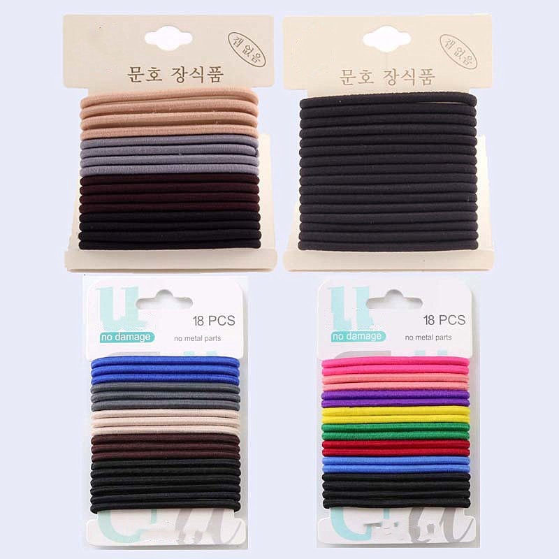 18 Pcs/set 4 Mm Width High Elasticity Rubber Band Candy Color Hair Band Hair Rope Children Girls Hair Ties Hair Accessories
