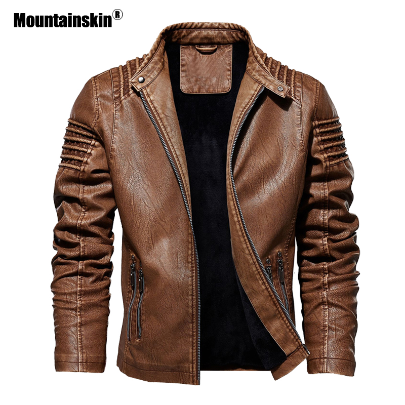 Mountainskin Men's Leather Jacket Winter Autumn Mens Motorcycle PU Coat Warm Fashion Slim Outwear Male Brand Clothing SA812