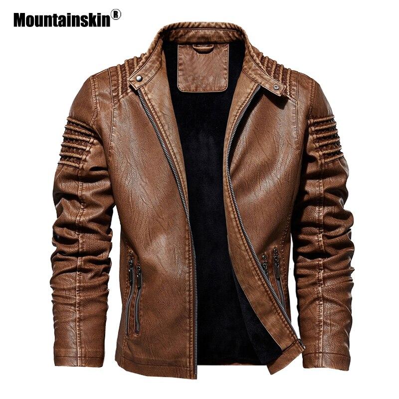 Mountainskin Men's   Leather   Jacket Winter Autumn Mens Motorcycle PU Coat Warm Fashion Slim Outwear Male Brand Clothing SA812