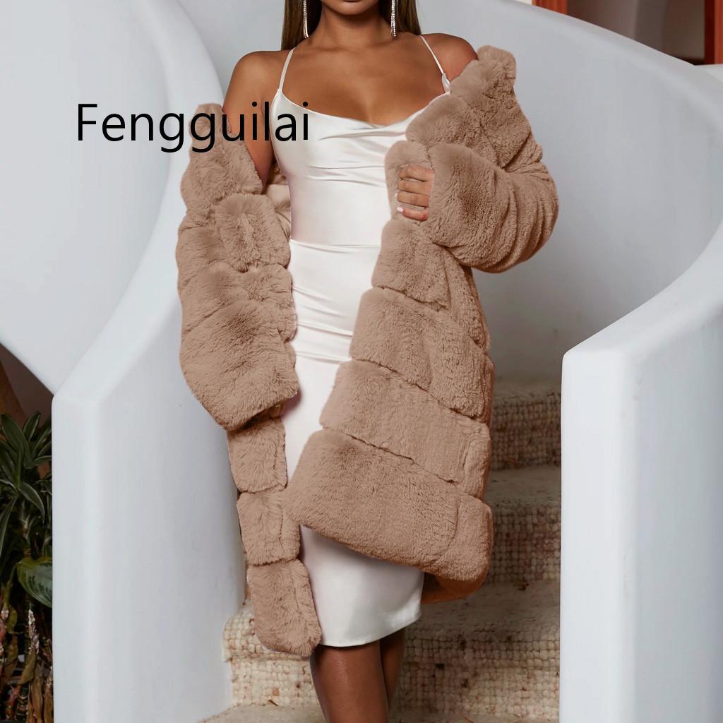 Grey Black Thick Warm Fur Long Sleeve O-neck Jacket Winter Fashion Women Faux Fur Furry Coat Outerwear Overcoat Plus Size