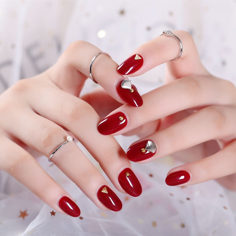 Wear-Fake Nails Deconstructable Manicure Nail Tip Wine Red Zircon Kim Mid-length Bride Manicure Stickers 275