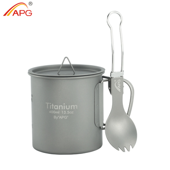 APG Titanium Cup Camping Picnic Water Mug Foldable Handle Pot Coffee Tea Cup with Lid and Titanium Spork Fork Spoon ultra light titanium cup mug flower pot outdoor tableware camping cup picnic cup mug coffee tea with lid folding handle 350ml