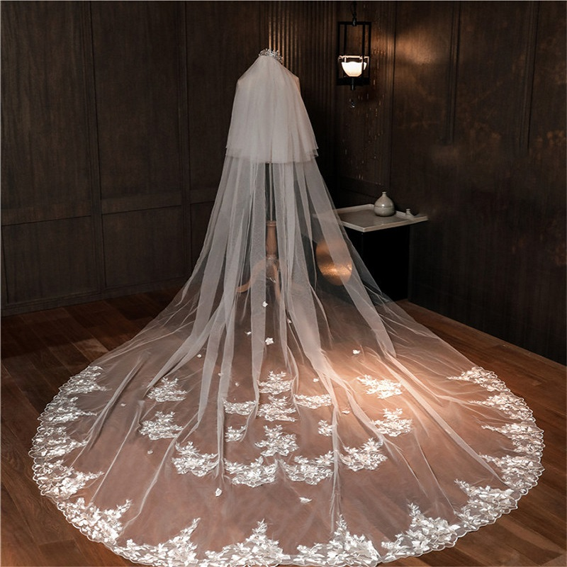 Appliques Lace New Bridal Wedding Veil Bride's Hair Accessories Veils With Comb Cathedral Church Two Layers Face Veil