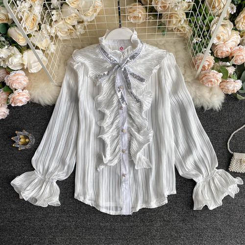 New Autumn Casual Bow Single Breasted Shirt Elegant Lady Ruffled Puff Sleeve Patchwork Shirt