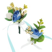 Blue Artificial Flower Silk Roses Wedding Corsages and Boutonnieres BridesmaidWrist Corsage Ceremony Flowers