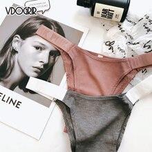 VDOGRIR-bragas de letra rosa para mujer, ropa interior Sexy, tangas sin costuras, Tanga de cintura baja, bragas sólidas para mujer, lencería cómoda para mujer