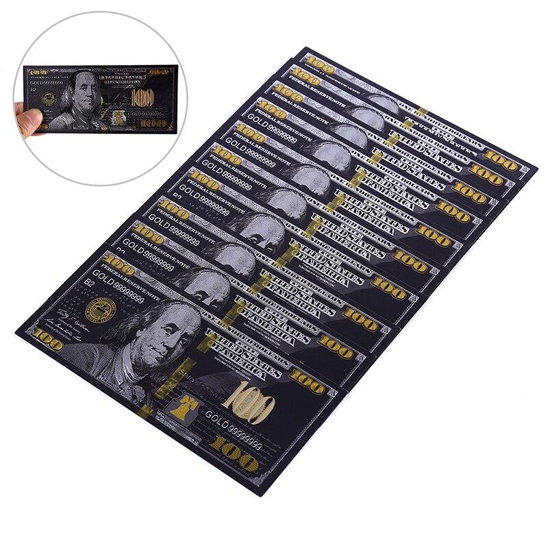 10 Teile/los Antike Schwarz Gold Folie USD 100 Währung Gedenk Dollar Banknoten Decor