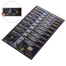 10 Pçs/lote Antigo Preto USD 100 Dólares Notas Moeda Comemorativa Da Folha de Ouro Decoração