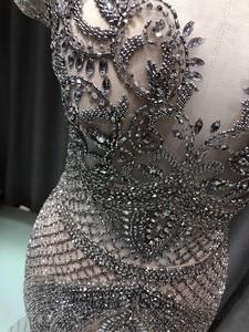 Image 5 - Luxo sereia vestido de noite longo boné manga artesanal frisado baile de formatura vestido 2020 vestidos de noche OEV L4208