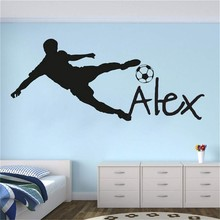 Personalized Name Football Vinyl Wall Decal Kids Children Bedroom Sticker Removable Custom Names Mural AY1961